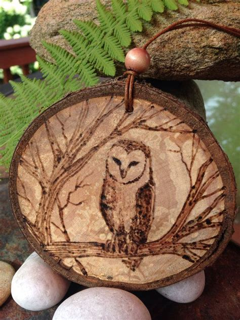 owl pyrography wood burned ornament created  sandy blanc