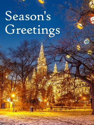 gorgeous winter town seasons greeting card birthday