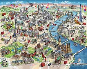 Illustrated Map Of London Painting by Maria Rabinky