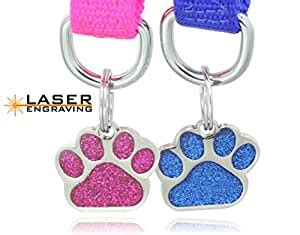 pet supplies laser etched glitter paw pet id tags custom