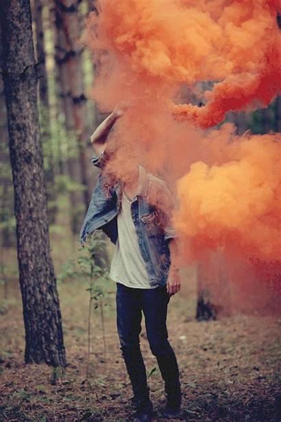 Smoke Hipster Bomb Boy Orange Colour Colored