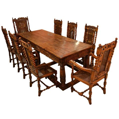 solid oak table and chairs antique solid oak refectory dining table and 8 chairs at