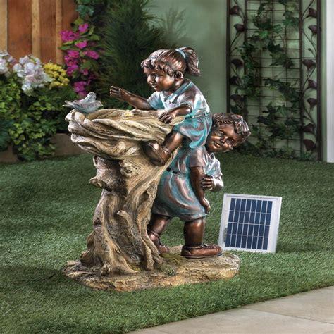 new children garden statue bird bath deco solar power