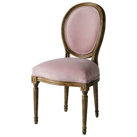 chaise medaillon en velours rose louis maisons du monde