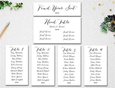 Wedding Seating Chart Template // Instant Download // Editable