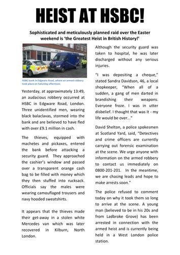 newspaper report bank robbery  benserghin teaching resources