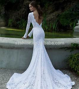 Long sleeve sheer wedding gowns sheer lace sexy crew for Fishtail wedding dress