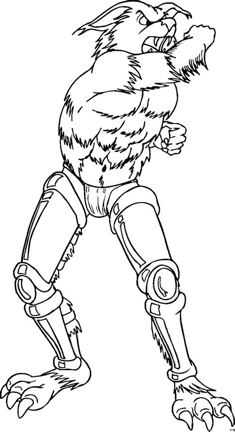 werwolf mit robobeinen ausmalbild malvorlage phantasie
