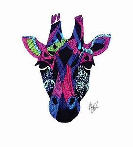 Giraffe Drawing Print (Abstract/Neon/Tribal)   Wall Art ...