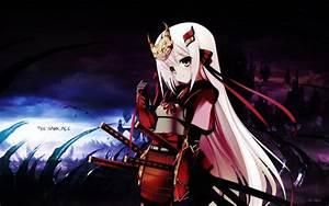 Dark, Katana, Samurai, Long, Hair, Ribbons, Weapons, Armor, Pink, Hair, Anime, Girls, Swords