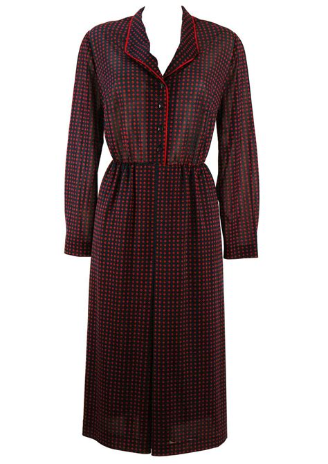 sleeve patterned dress vintage 80 s navy patterned sleeve dress l