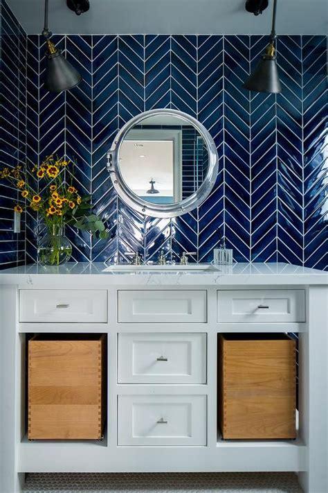 white bathroom tiles  black trim transitional bathroom