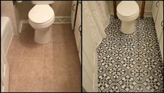 bathroom linoleum ideas give your bathroom a new look by chalk painting floor
