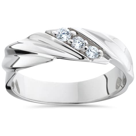 mens wedding rings white gold with diamonds mens wedding ring 3 14k white gold high polished band ebay