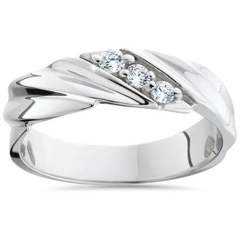 mens diamond wedding ring 3 stone 14k white gold high