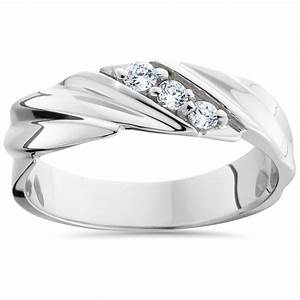 Mens diamond wedding ring 3 stone 14k white gold high for Wedding band for 3 stone ring