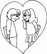 Couple Coloring Pages Valentines Printable Valentine Holidays sketch template