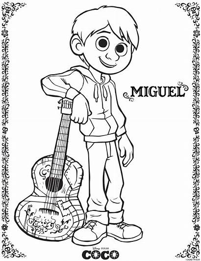 Coco Coloring Pages Printable Disney Miguel Brave