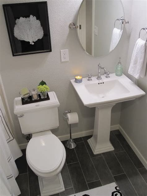 Kohler Memoirs Pedestal Sink by Gray Walls Contemporary Bathroom Benjamin Moore Gray