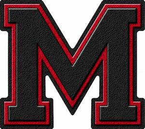 presentation alphabets black cardinal red varsity letter m With varsity letter m