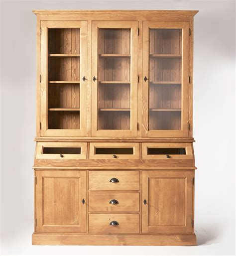 meuble cuisine cing vaisselier ciré miel 5 portes 3 trappes vitrées made in