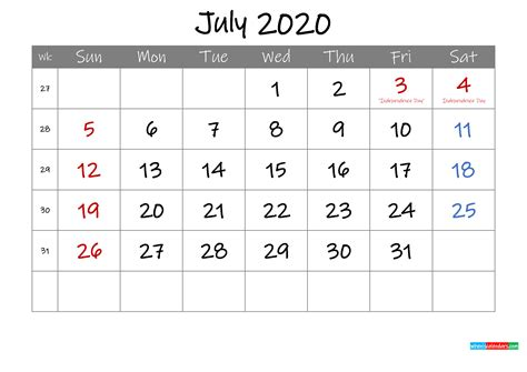 editable july  calendar  holidays template