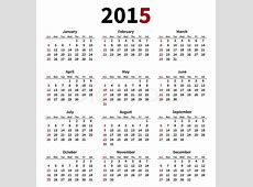 Simple 2015 year calendar on white background Vector