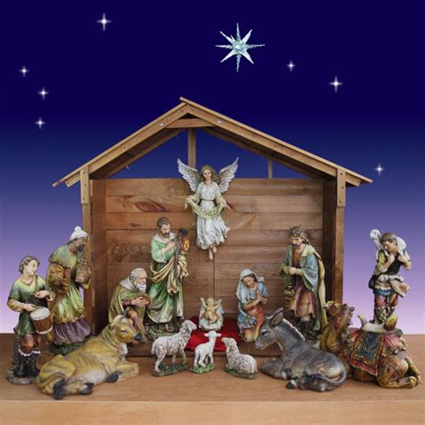 30 inch 15 piece artisan nativity set with stable