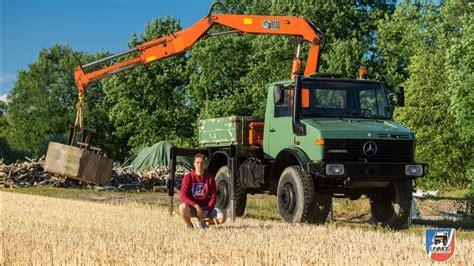 rückewagen mit kran unimog 425 u1300 mit 6 5m hiab kran unimog vorstellung