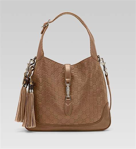 tote bag gucci jackie light brown guccissima leather shoulder
