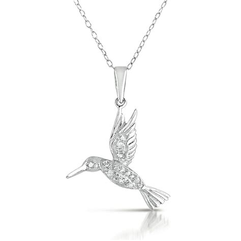 necklace diamond hummingbird charm silver