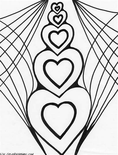 Hearts Coloring Pages Printable Heart Wings Sheets
