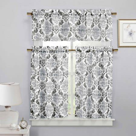 White And Silver Valance by Black White And Silver 3 Sheer Window Curtain Set