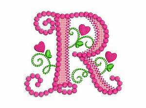 Cute Letter R Alphabet for Lil Princess Hearts Applique ...