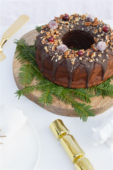 bundt cake de noel au chocolat noix de pecan