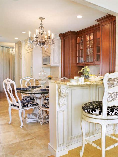 country kitchen with dazzling chandelier hgtv