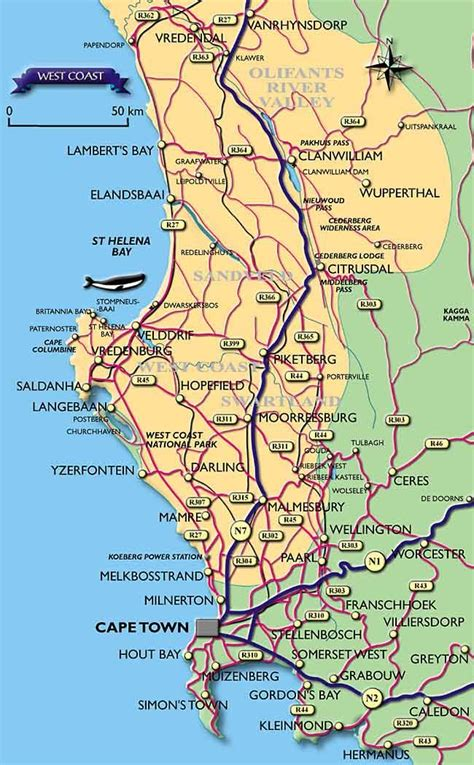 Carte Cote Ouest by Visitors Guide To Cape Town Western Cape West Coast