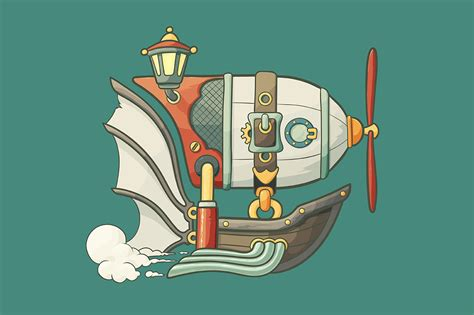 cartoon steampunk styled airship illustrations