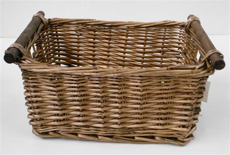 Oak Wicker Kitchen Log Storage Basket Hamper Basket  Ebay