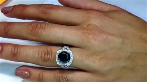 huge black diamond engagement ring pave set halo youtube
