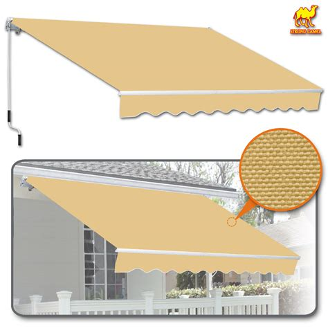 strong camel    manual yard retractable patio deck awning cover canopy sunshade beige