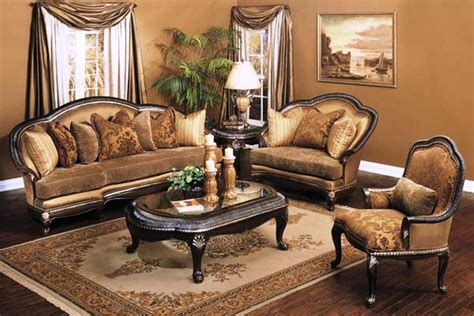 Treviso Antique Style Exposed Wood Luxury Formal Sofa Set