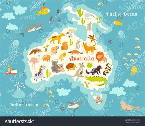 animals world map australia vector illustration 886 | stock vector animals world map australia vector illustration preschool baby continents oceans education 352461830