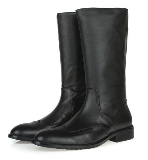mens leather motorcycle boots 2016 top quality knee high black mens boots genuine