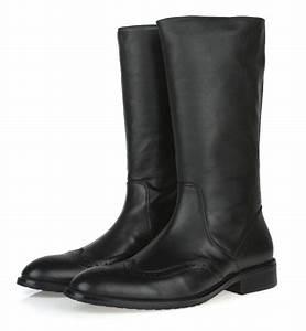 2017 Top quality knee high black mens boots genuine ...