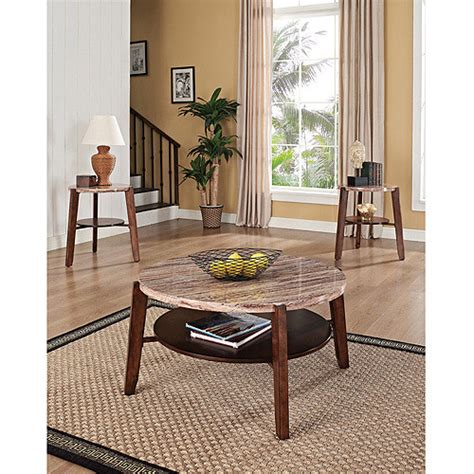 Cade frame coffee table allmodern table base color: Nadav Round Faux Marble 3 Piece Coffee and End Table Set, Brown - Walmart.com - Walmart.com