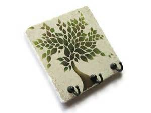 green tree wall key holder decorative tile by