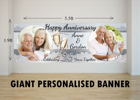 Personalised Giant Large 25th Silver Wedding Anniversary