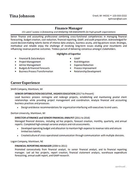 Finance Manager Resume by Senior Finance Manager Resume Exle