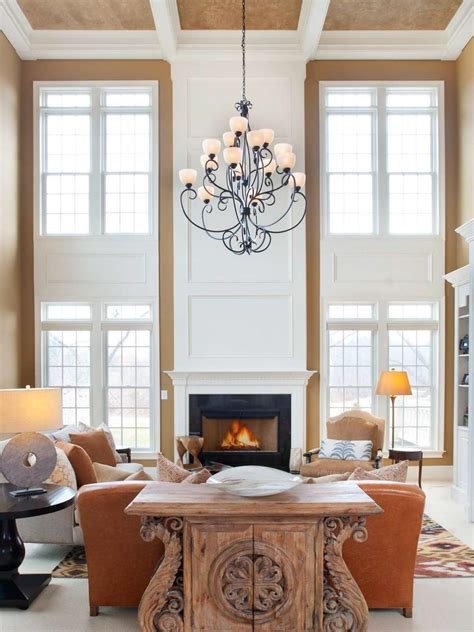 transitional neutral  story living room hgtv